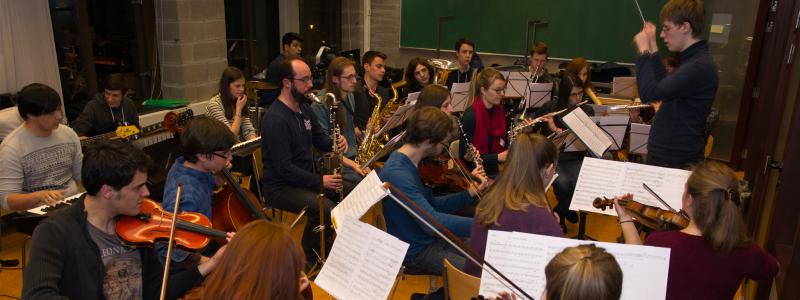 Répétition de l'orchestre pour la Revue des Ingénieurs 2016 dirigé par Olivier Vopat